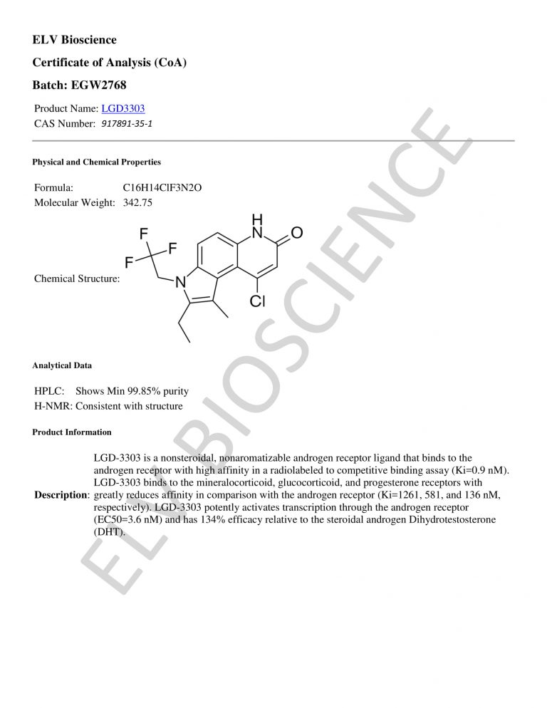 LGD3303 SARM Certificate of Analysis